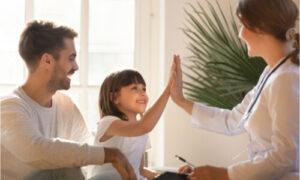 The father gives his child proper pediatric care.